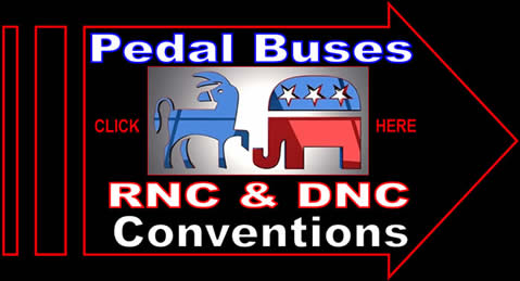 Freewheelin Pedal Buses, RNC, DNC, Republican National Convention, Democratic National Convention